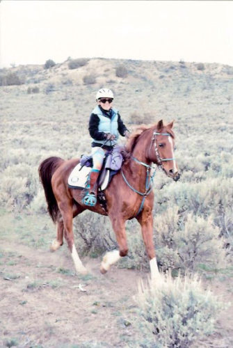 Sharma Gaponoff competing in her Schleese saddle