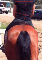 This rider is sitting on a saddle which has shifted to the right - presumably having been moved by the larger left shoulder during movement.