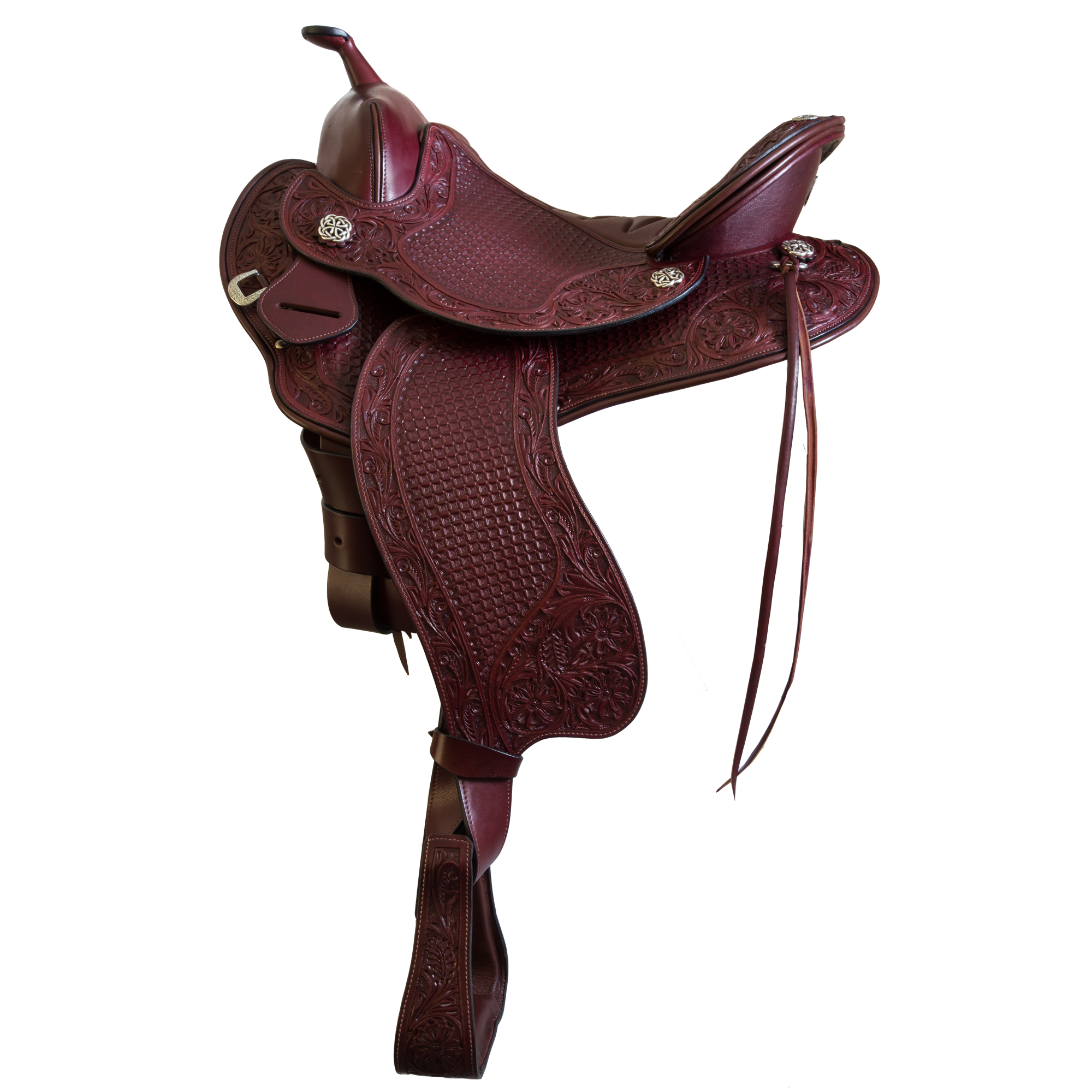 Devin Western Trail Saddle - Chestnut with Tooling
