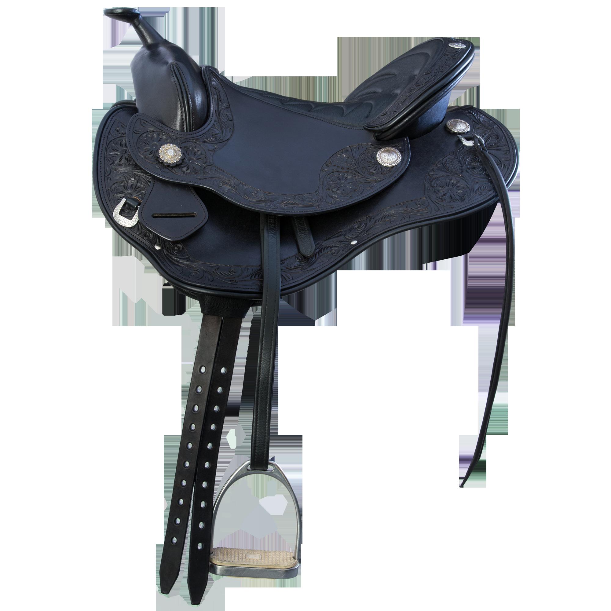 Devin Western Trail Saddle - Black - English Rigging System