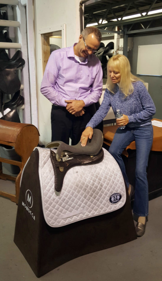 Anne Gribbons - Olympic 5* Dressage Judge - discussing the design of her new Schleese saddle.