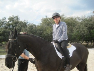 89-year-old Douglas Baldwin (Claudia Strong's father) with Amber and her new Schleese Triumph saddle.