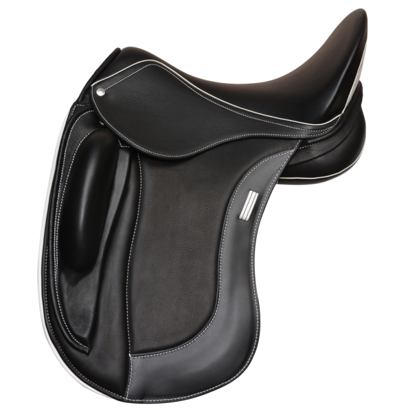 ProLight - Black with White Welting - Stirrup Loop - Gullet and White Quilted 1/2 Moon