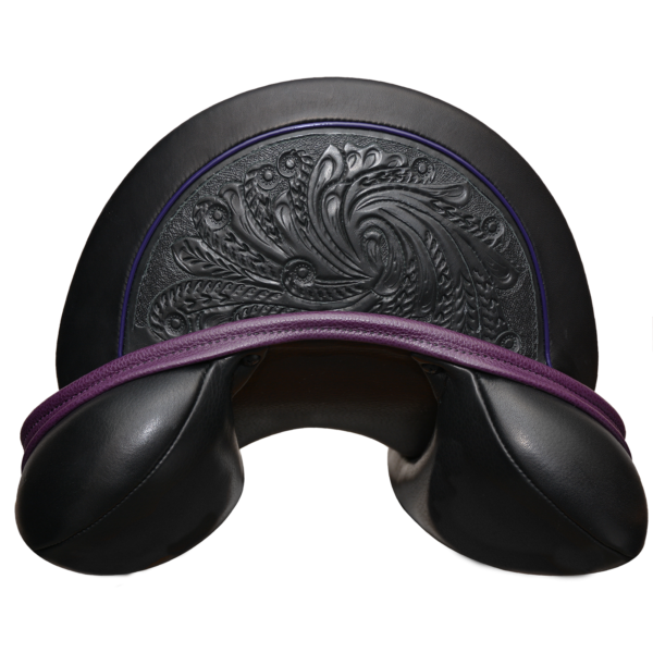 Let's Dance - Blk with Purple Welting-Facing-Backroll- Tooled 1/2 Moon