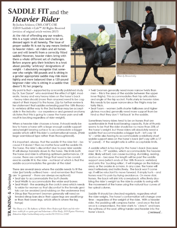 Saddle Fit and the Heavier Rider by Jochen Schleese - published in the Elite Equestrian Magazine May/June 2019