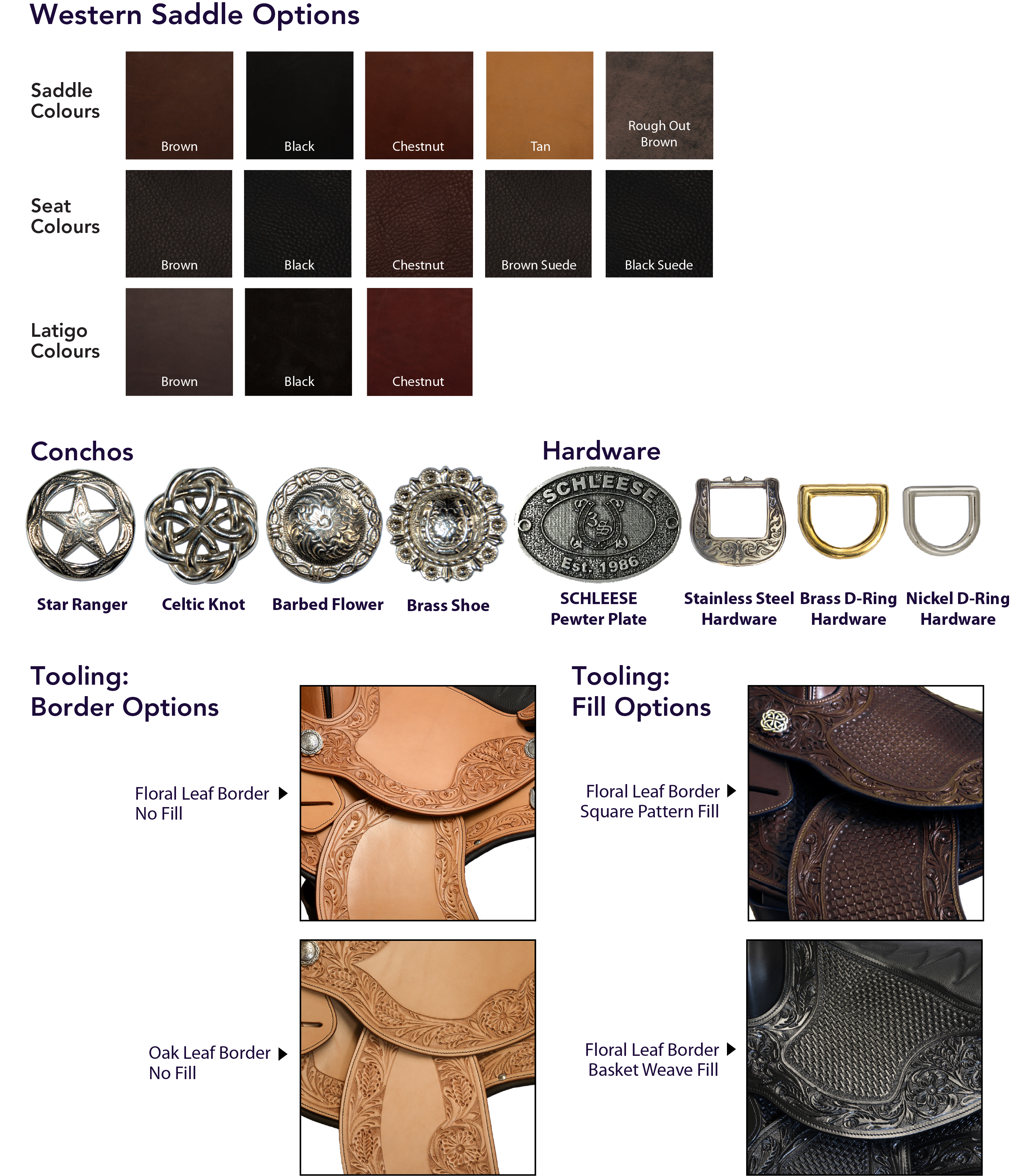 Western Leather - Hardware - Tooling Options